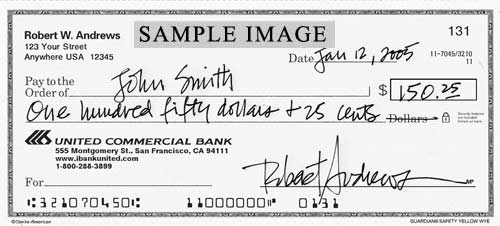Sample Image of Cancelled Checks - United Commercial Bank (UCB)